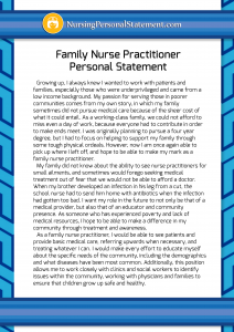 Family Nurse Practitioner Personal Statement Sample