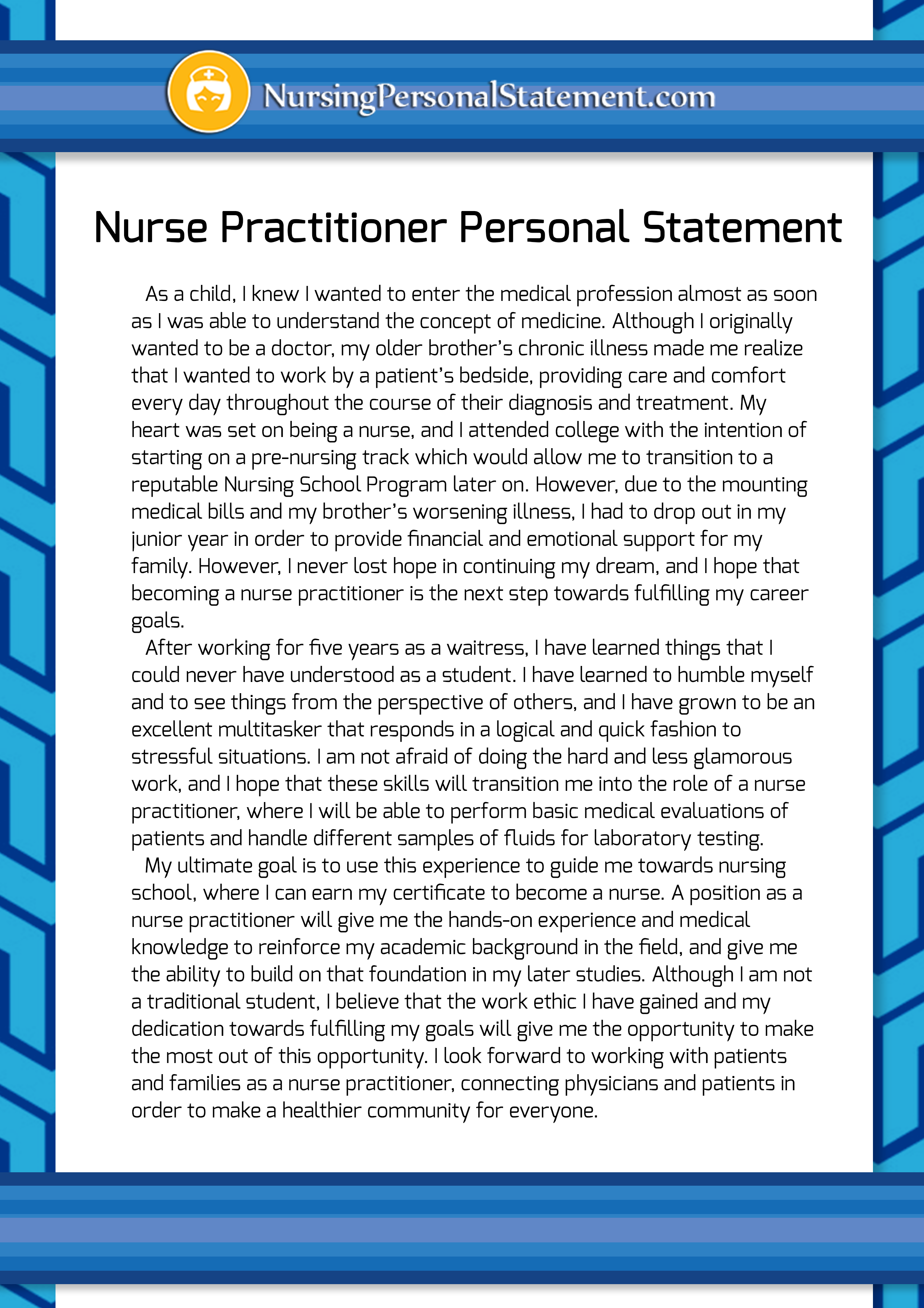 personal statement essay for nursing I need some help proof-reading my personal statement for fnp graduate school and would really appreciate if anyone can just give me some feed back  the nursing .