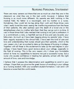 nursing personal statement example