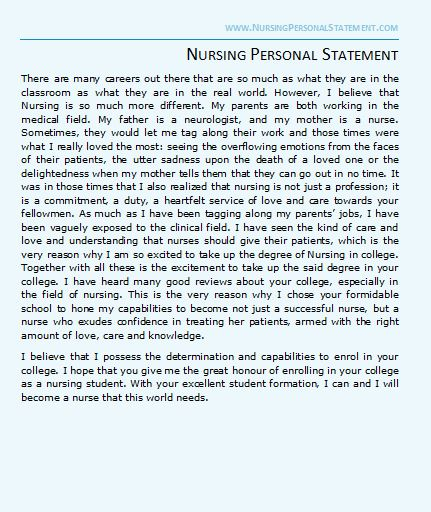 personal statement of beliefs and philosophy of nursing