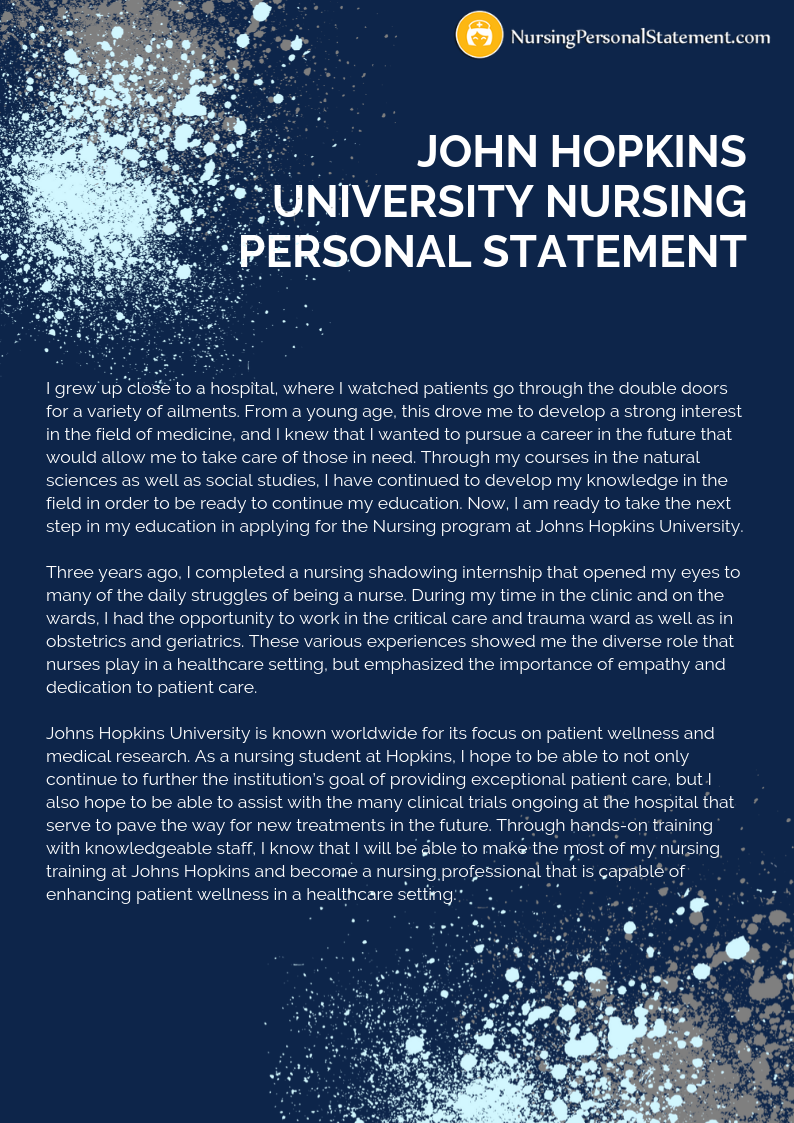 John Hopkins University nursing personal statement example