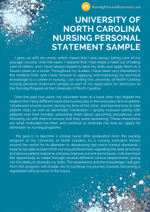 university of north carolina nursing personal statement sample