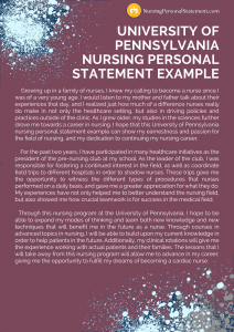university of pennsylvania nursing personal statement example