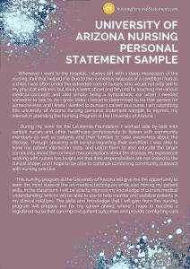 university of arizona nursing personal statement sample