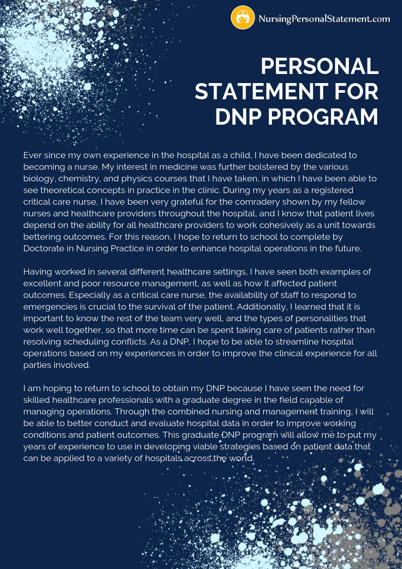 personal statement for dnp program sample
