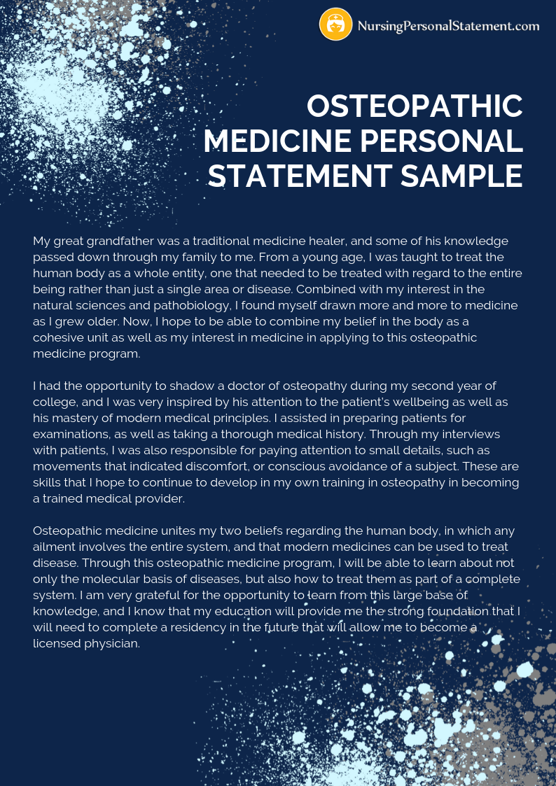osteopathic medicine personal statement sample