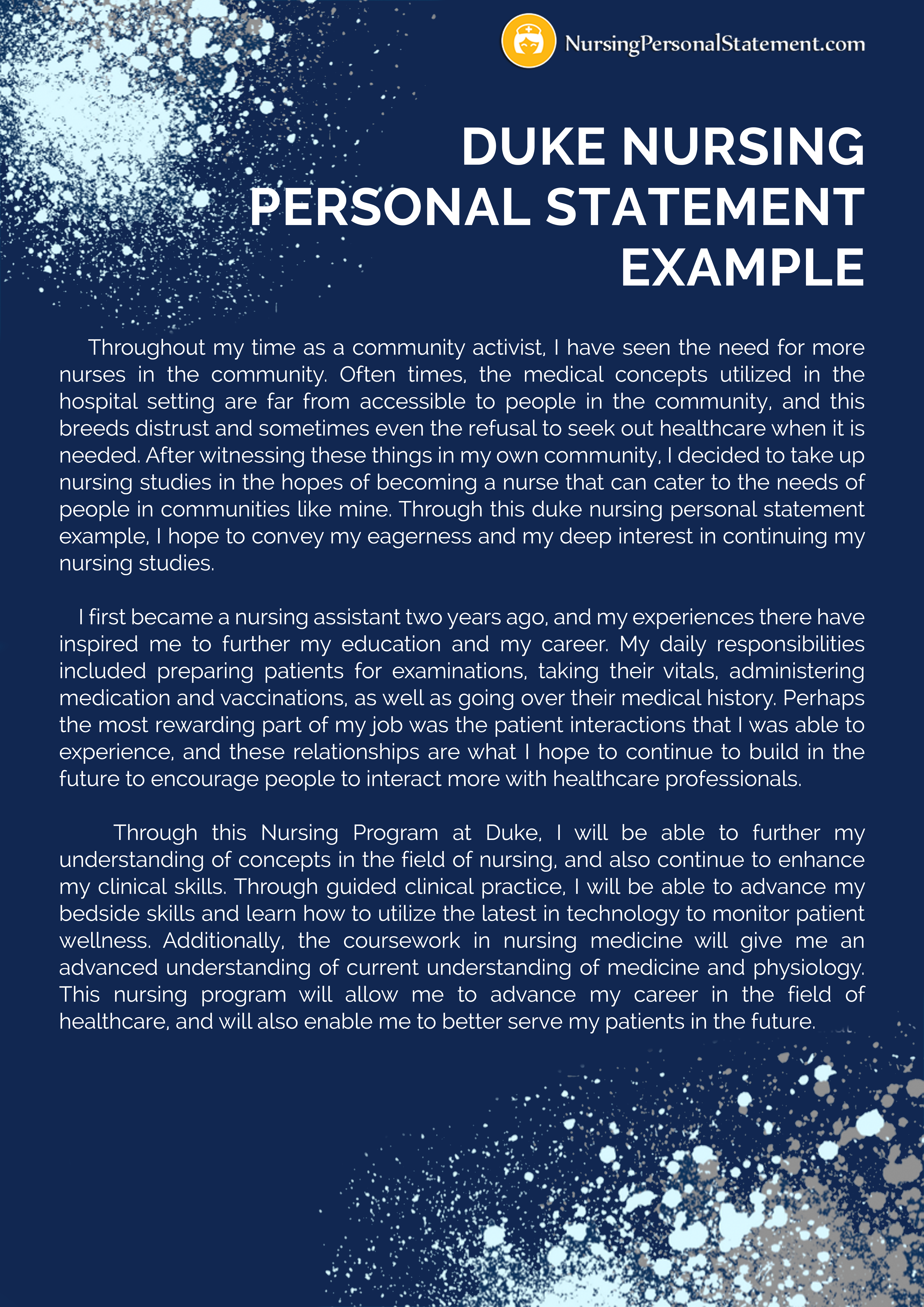 nursing personal statement for a job